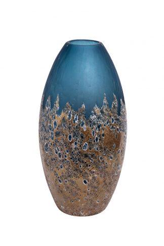 HJ1654-40-S81 sinine klaasvaas kullaga H40D10...