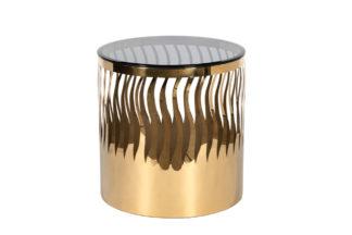 Ümmargune kohvilaud toonitud klaas/kuld d50*5...